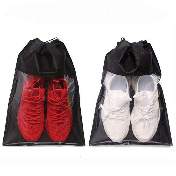 Transparent nylon drawstring shoe bag travel shoe bags for men & women