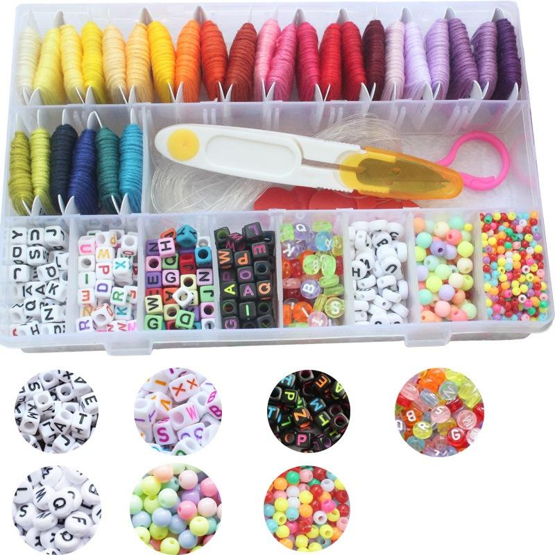 DIY 28 Colors Cross Stitch for Bracelets Thread Cross Stitch Kit with Letter Beads String box
