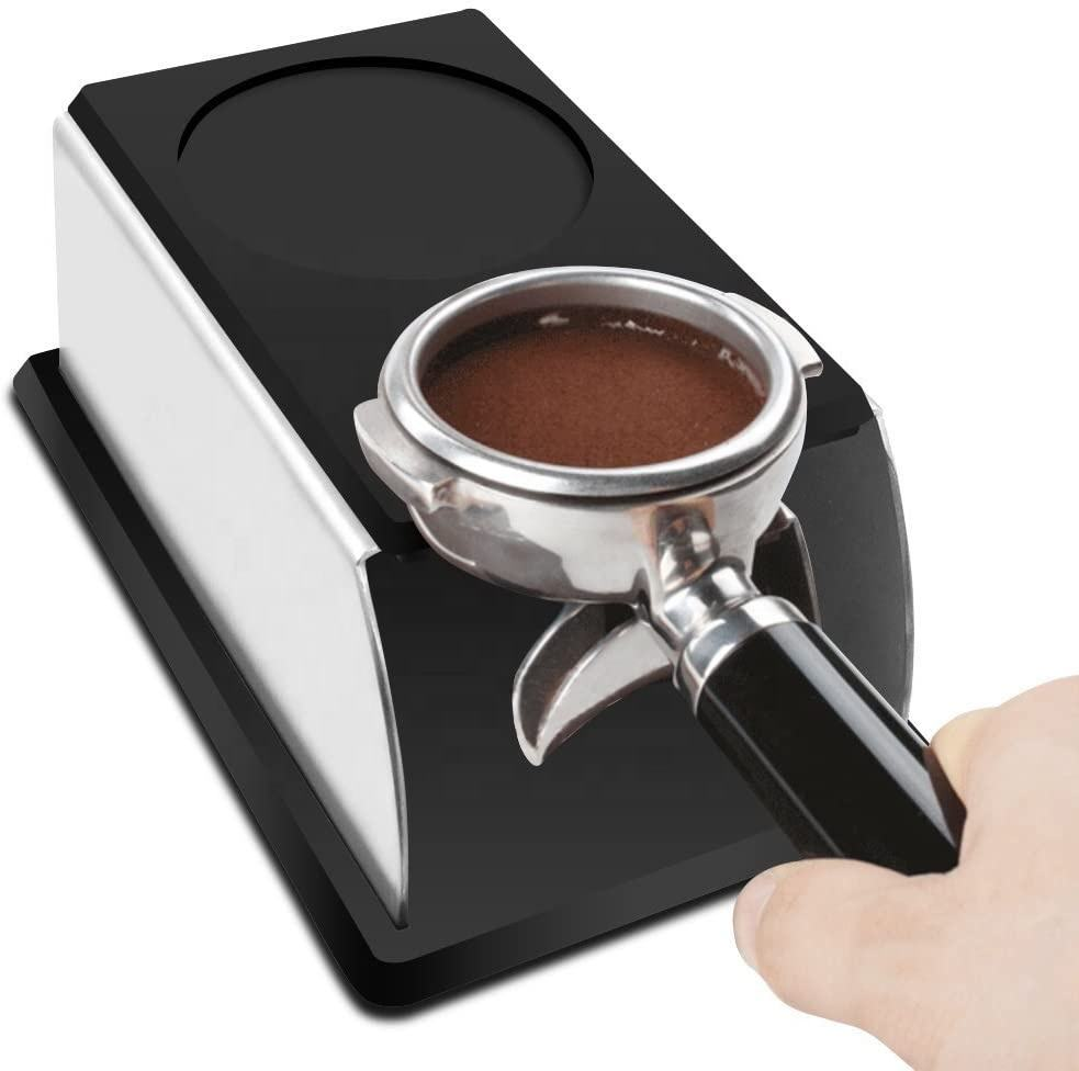 Coffee Tampers Accessories Sturdy Stainless Steel Tamping Stand Coffee Tamper Storage Base Coffee Tamper Stand with Mat