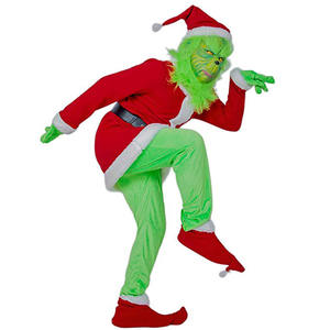 Grinch X-mas Joke Costume Adult Christmas Cosplay Outfit Halloween Scary Santa Claus Suit Fleece Velvet Outfit For Men Women