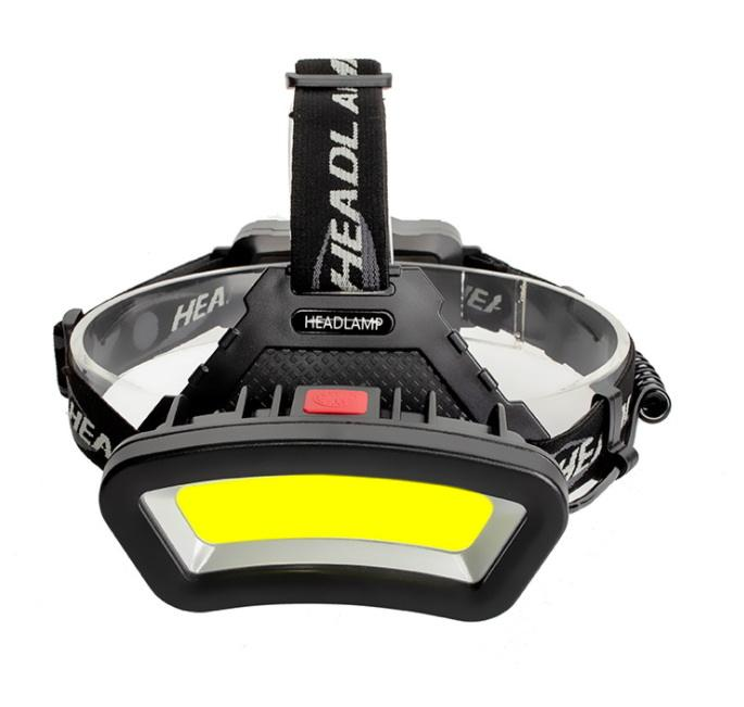 High Power 10W COB Headlight With White And Red Warning Light Rechargeable Headlamp With 4 Work Mode