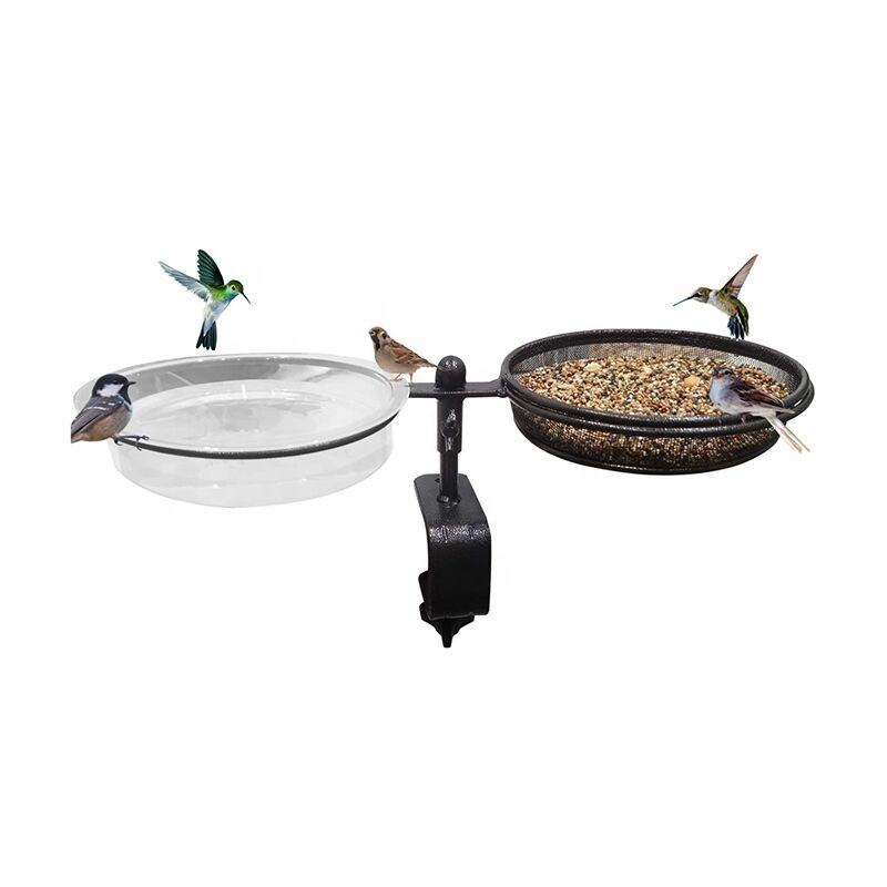 2021 new 2 in 1 Urban Home Garden Deck Bird Feeder Deck Mount Bird Bath Spa for Dual Use Deck Flower Stand Flower Pot