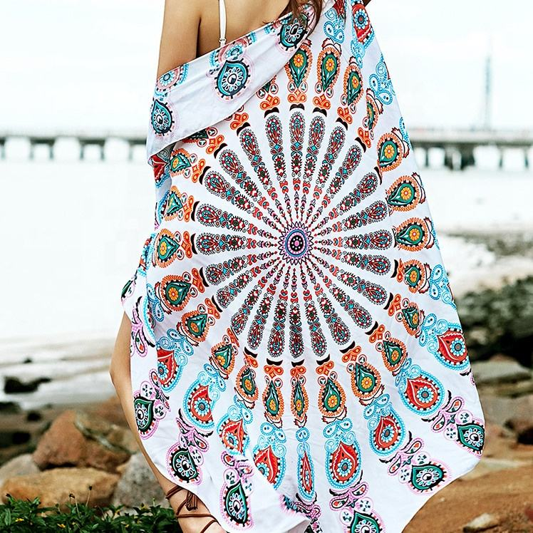 Excellent Material custom mandala round beach towel blanket ,100% microfiber beach towel for Adult tourism