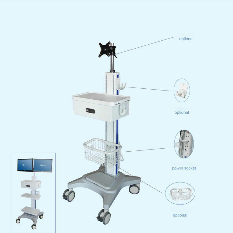 LCD Arm Hospital ICU Monitoring Trolley Video Conference Trolley with Computer