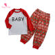 Christmas Baby Girls Outfits Wholesales Christmas Kids Suits Red Splicing Long Sleeves T-shirts Pants Baby Girls Outfits