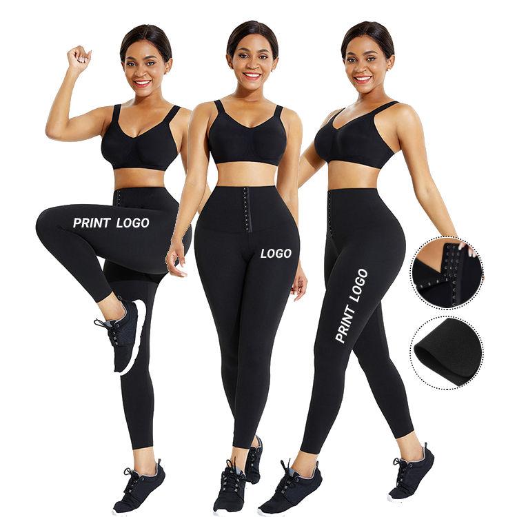 2 In 1 Waist Trimmer Belt Compression Elastic High Waist Butt Lifter Hip Women Yoga Leggings With Custom Logo