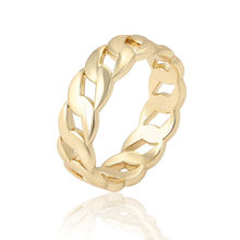 16309 Xuping cheap simple design chain type ring jewelry, 14K gold color copper alloy neutral finger ring