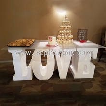 Factory wholesale wedding white dining table LOVE letter table with glass top for event and party