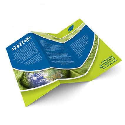 Z stylish folded leaflet brochure printing service A4 200 gsm glossy art paper with Hot Stamping fast delivery
