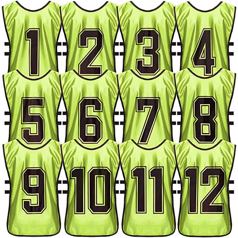 ActEarlier wholesale 12 pcs 1 pack numbered sports bibs scrimmage training vest football pinnies