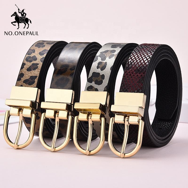 Genuine leather luxury brand ladies fashion new belt double-sided rotating alloy pin buckle youth belt for women