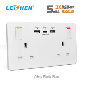 220V 240V 13A K Smart USB Double 2 Way Gang Wall Socket With USB type C Charger Ports