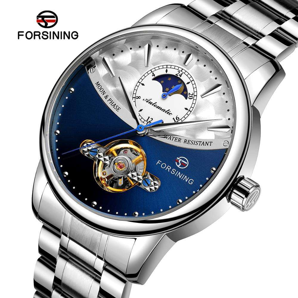 2020 Forsining Latest Luxury Tourbillion Automatic relojes de hombre Mens Watches Moonphase Saat Support Customize jam tangan