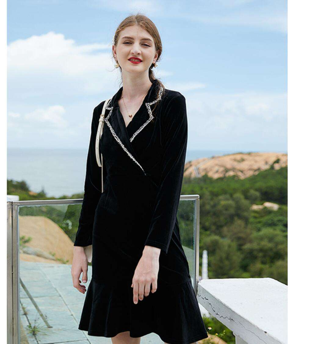 Contrasting Color Suit Collar High Waist Gold Velvet Long Sleeve Dress