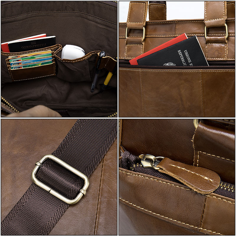 Wholesale custom Cheap Low MOQ Executive Men Genuine Leather Tote Top Leather laptop Bags And business Briefcases for men