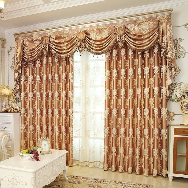 European style jacquard fabric blackout curtain sun shade curtain