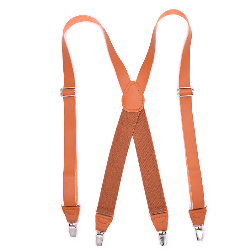 1 Inch Wide Suspenders for men,Soft Leather, Caramel England Style, X-shaped Adjustable 4 Braces Clips
