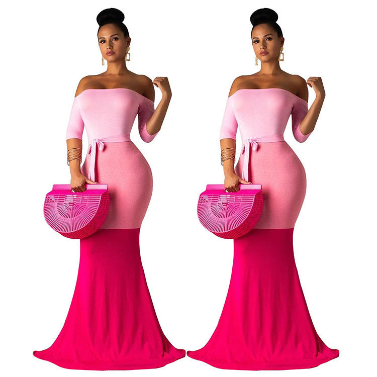 Cheap Apparel Women's Sexy Off-Shoulder Long Sleeve Elegant Bodycon Party Long Dress Ladies With Belt