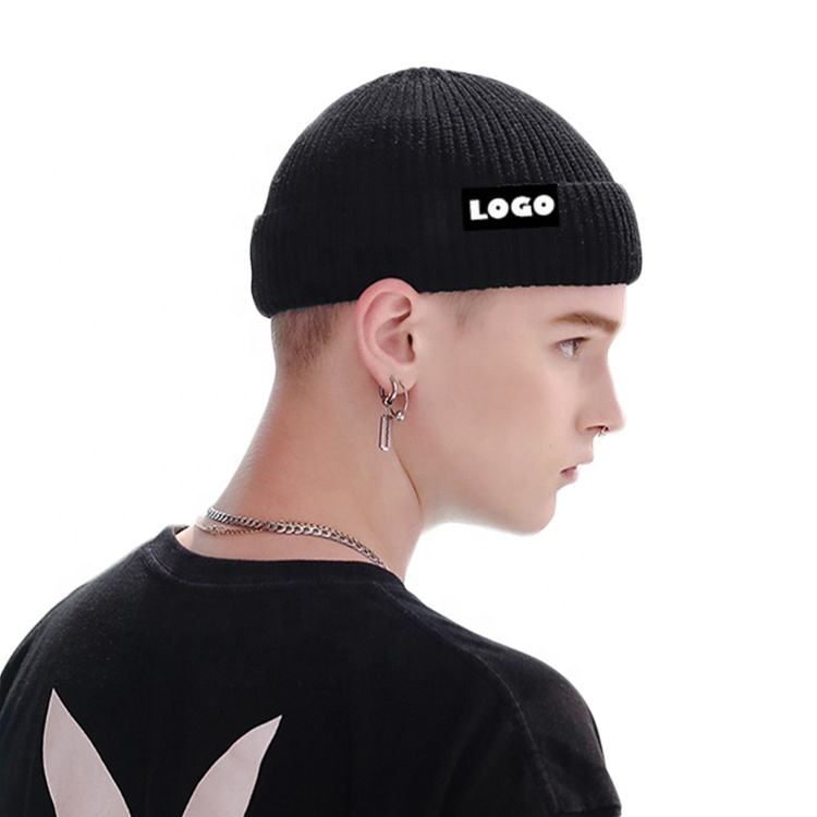 Hot Sale Custom Label Blank Fold Up Rib Knit Solid Color Fisherman Short Skull Cap Beanie