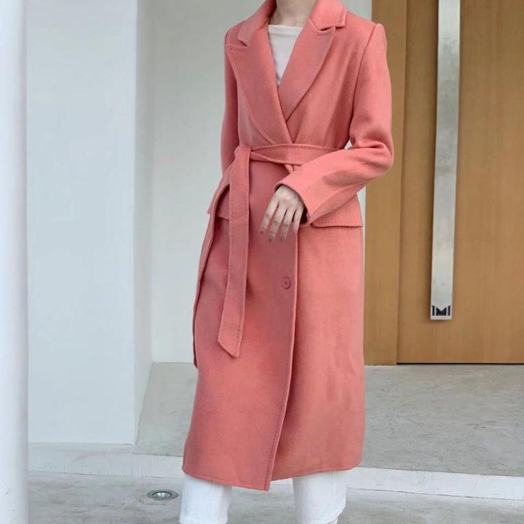 2020 new design handsewn anti-pilling double side womens long wool coat in winter