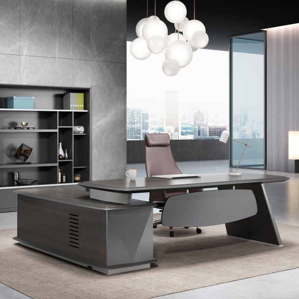 High End Modern Design Luxe Hout Fineer Algemene Manager Boss CEO Voorzitter Kantoormeubilair China Executive Tafel Bureau