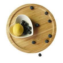 Round Bamboo Wooden Serving Tray Fruit Platter Cheese Plates
