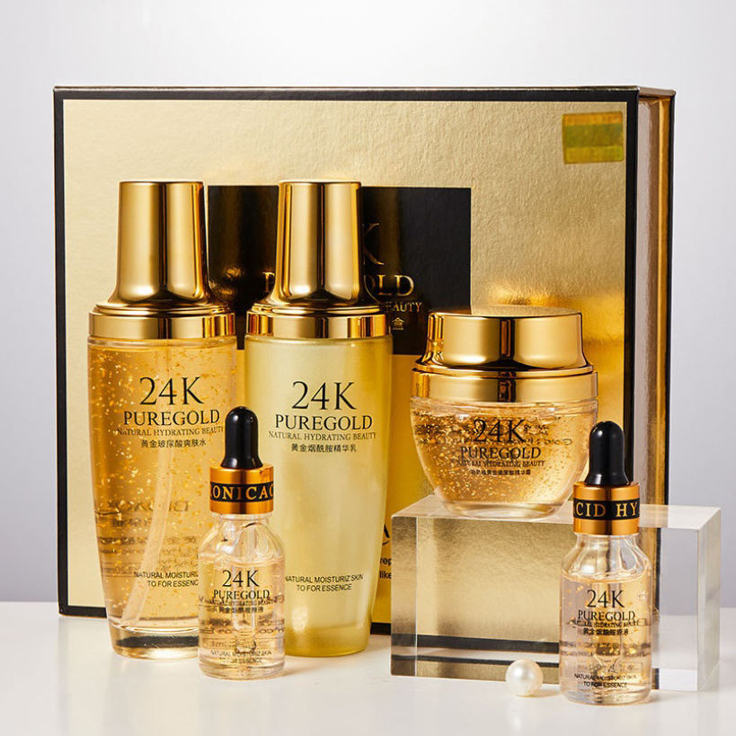 Handelsmarke BiTing Kosmetik Gold koreanische Hautpflege 24 Karat Gold Beauty Skin Lotion Set