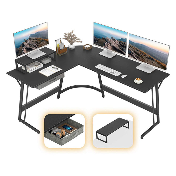 black computer desk best home office work table l shaped desk with drawer
