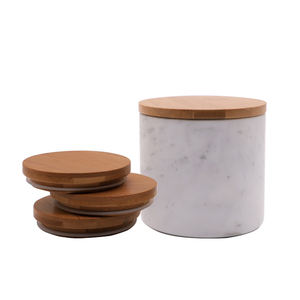 Mescente candle glass jars wooden bamboo lids