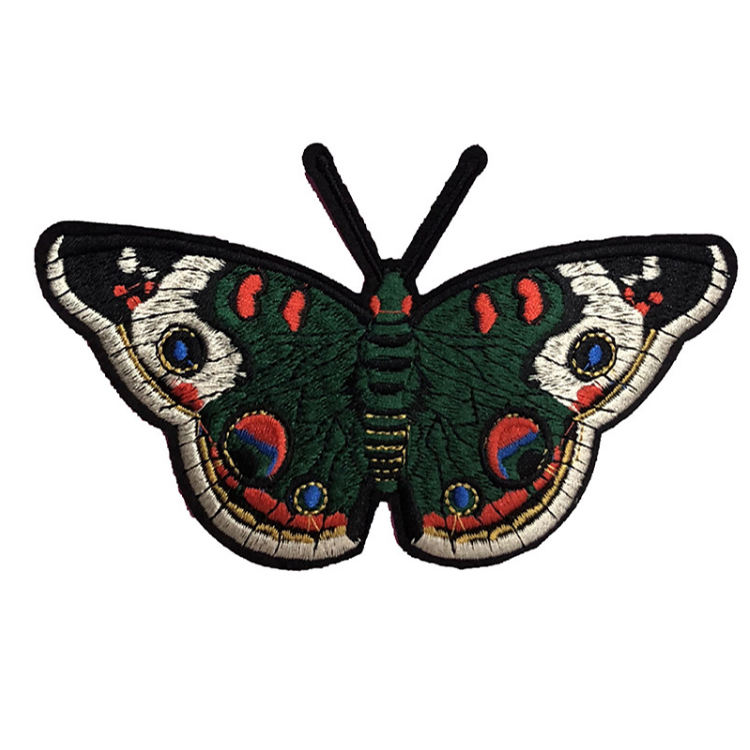 Embroidered Service Custom Butterfly Insect Logo 100% Machine Embroidery Patches and Badges with Iron on