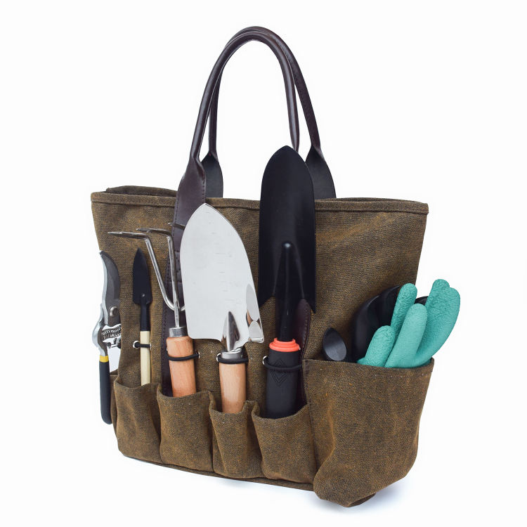 Heavy Duty Canvas Garden Tool Tote Bag with 7 Pockets