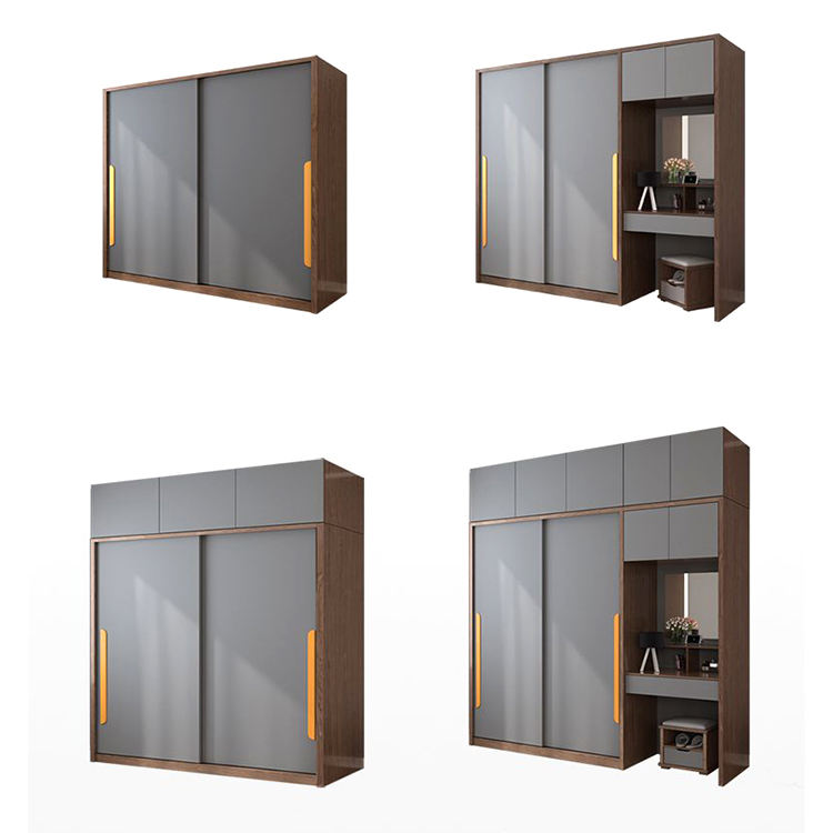 Custom made modern design wood grain lacquer lacquered swing door wood bedroom wardrobe