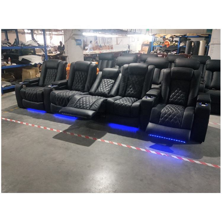 Hot sale home theater sofa with led cupholder,genuine leather power recliner home theater seating