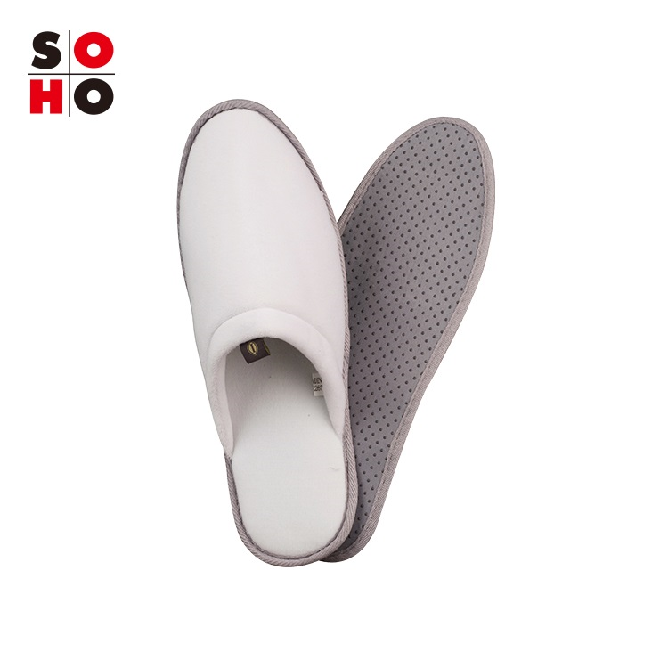 Simple Design Cotton Velour Disposable SPA Hotel Slippers With Logo