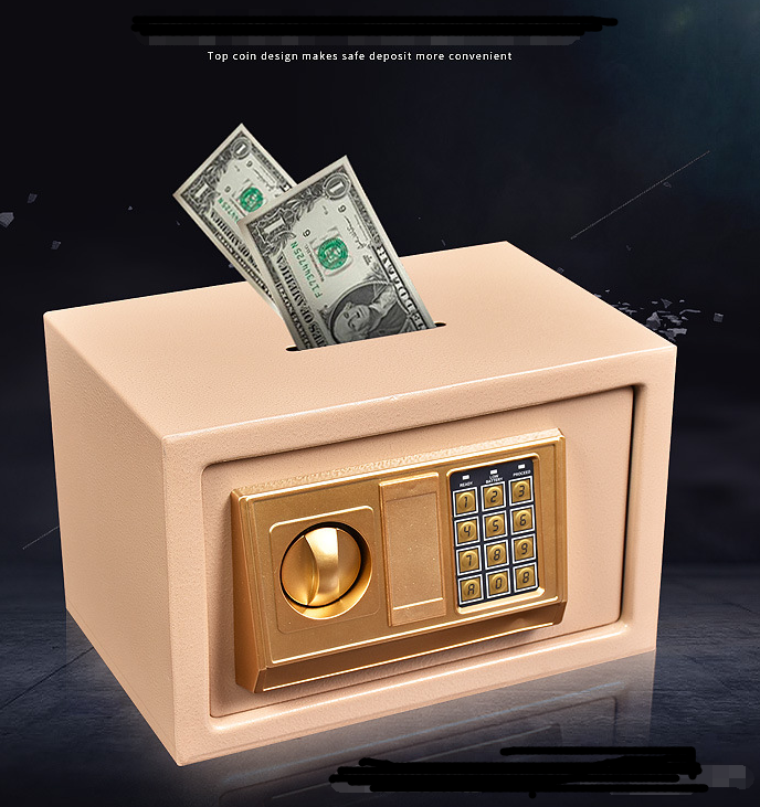 Hotel/Home /Beach Deposit Portable Safe Box Fireproof Electronic Digital Locks Steel Golden Gun/Money/Book Mini Safes