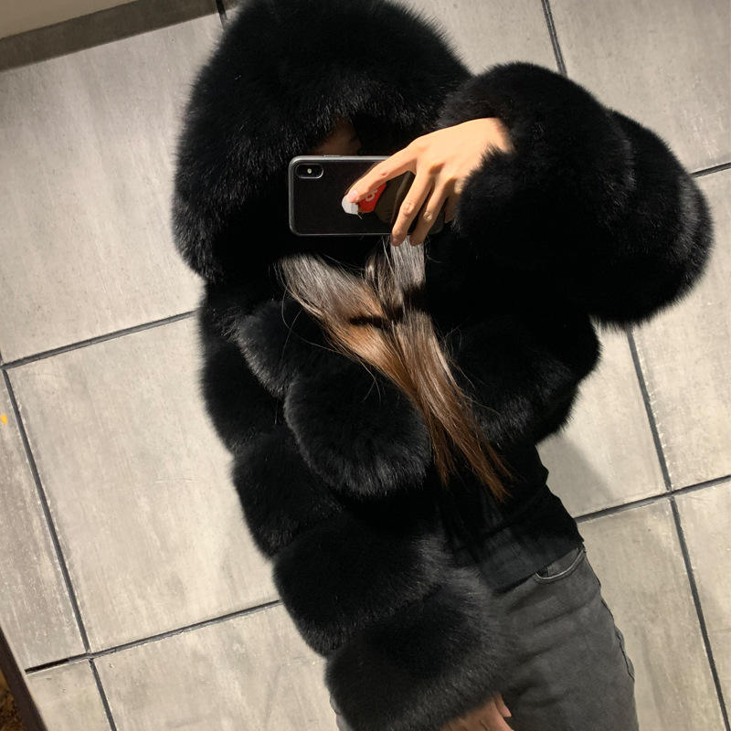 wholesale Super Popular Winter Coat Jacket Women Best Quality Faux Fox Fur Coat trendy Short Style fake fur coat for Lady