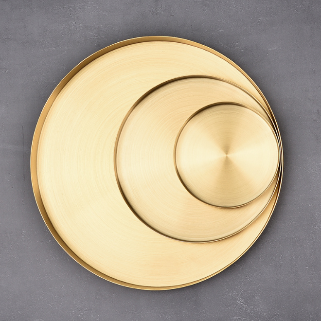 Custom middle size small metal stainless steel golden round shape disc plate food serving tray
