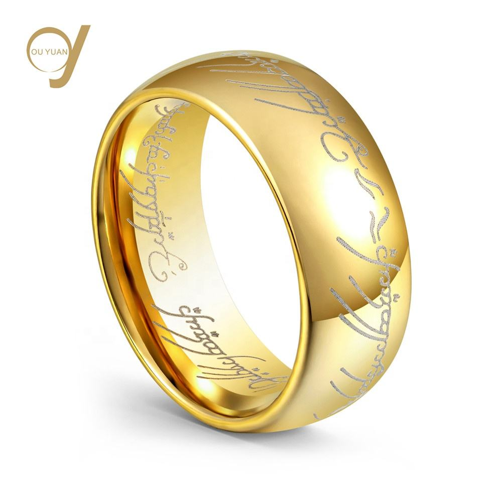 Hot selling Tungsten carbide 18K Gold plated Ring the Lord of the Rings for party