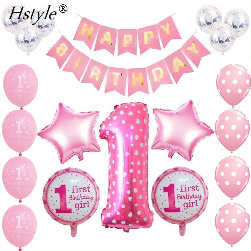 1st Kids Birthday Party Decoration Balloon Set Baby Boy Girl Happy Birthday 40 inch Number 1 Balloons Supplies SET384