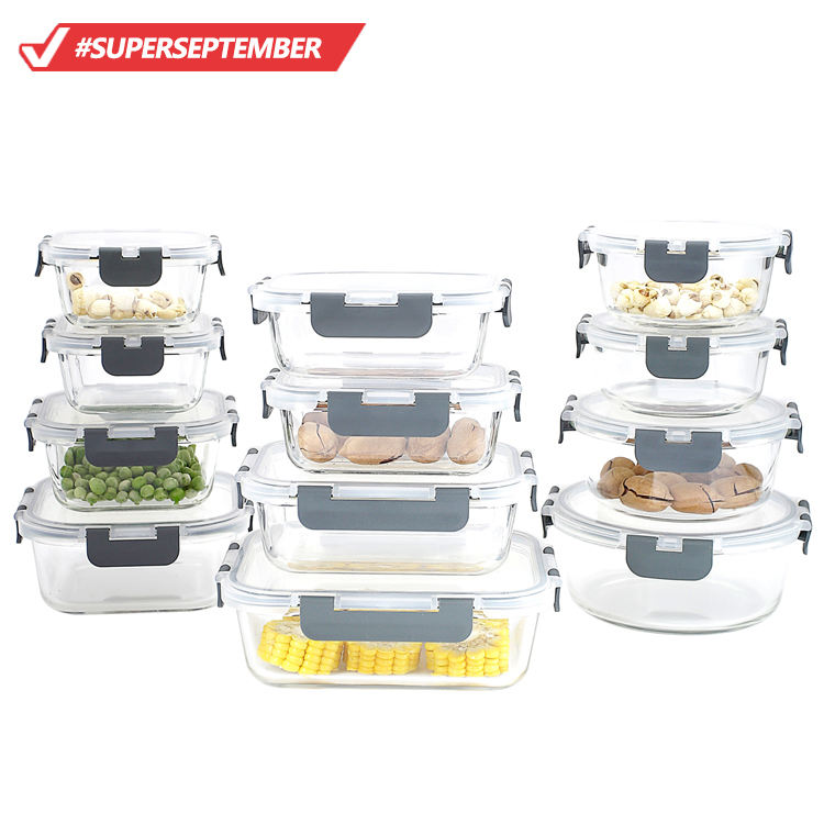Amazon top seller kitchen accessories 24-piece superior glass food storage containers set