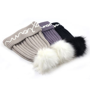 Unisex winter warm solid knitted acrylic beanie with faux fur pom and custom embroidery