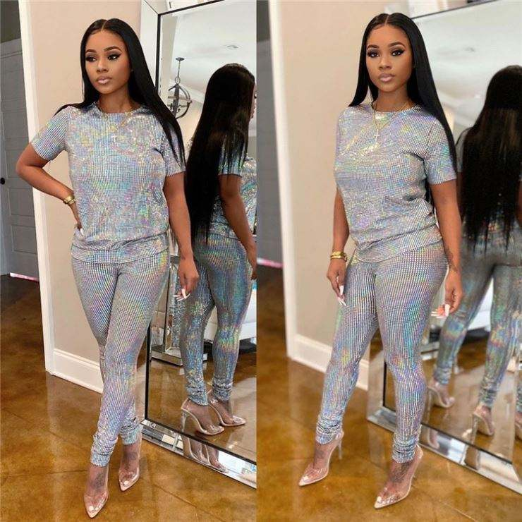 M0330 Women 2 piece set clothing 2020 two piece pants set shiny glitter casual bodycon summer set women