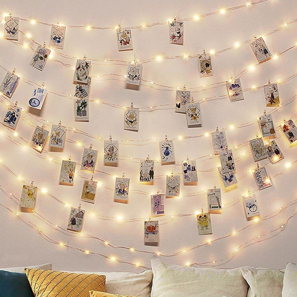 Aerwo Home Decoration Waterproof 100 LED DIY Photo String Lights With Clips For Wedding Party