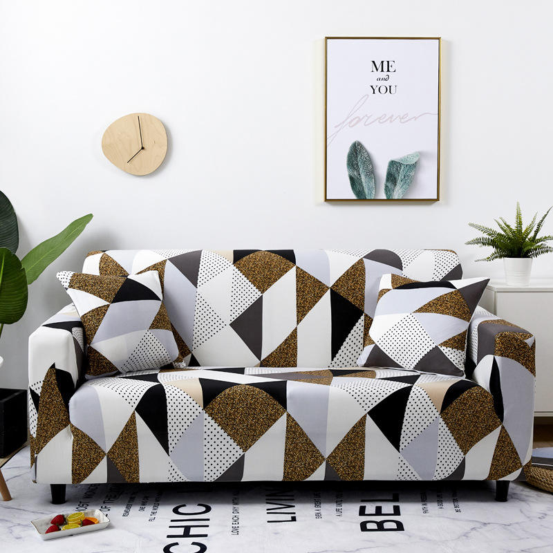 Wholesale Geometric Wave Pattern Home Decoration Item Stretch Sofa Cover, Ready Ship Printed L Shape Covers Sofa/