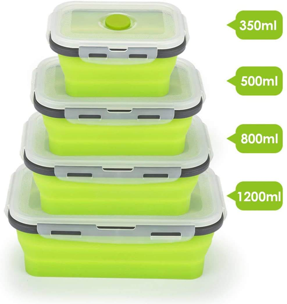 350ml 500ml 800ml 1200ml 1600ml Collapsible Silicone Lunch Boxes Microwave Silicone Food Storage Containers