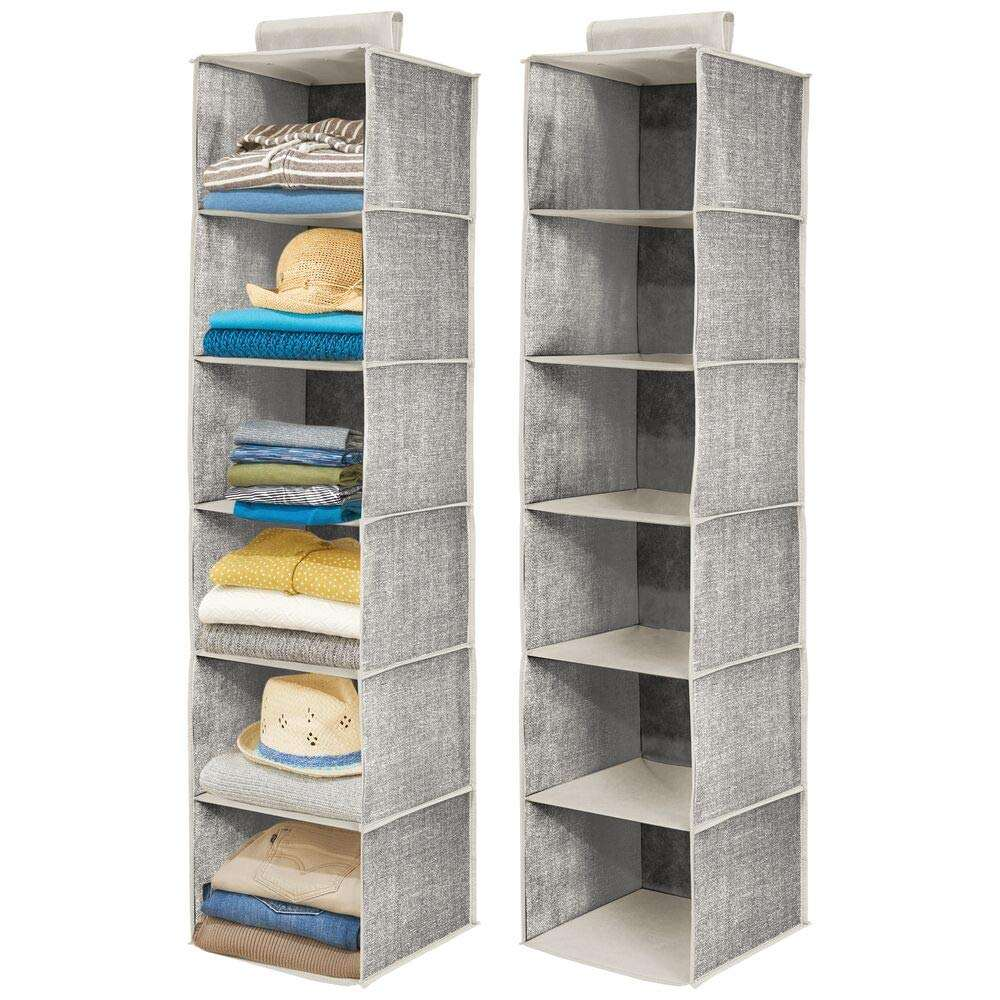6-Shelf Non-woven Collapsible Shelves Hanging Closet Cubby Hanging Closet Storage Organizer for Sweater Cloth handbag