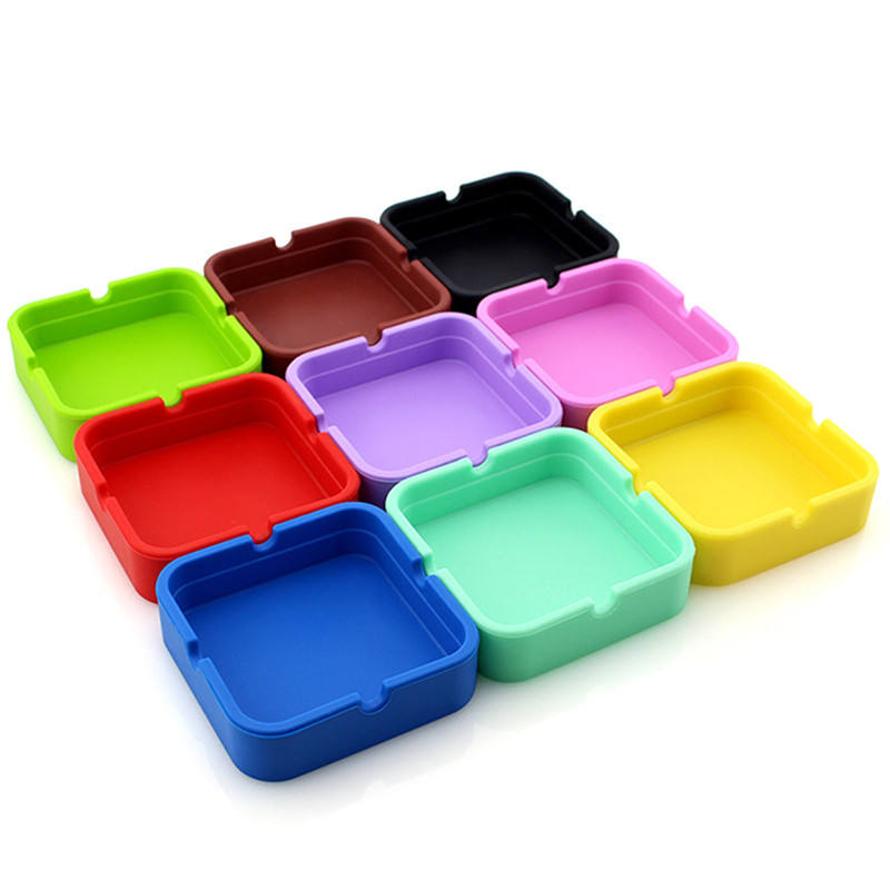 Silicone Ashtray High Quality Square Green Ashtray Colorful Silicone Rubber Ashtray Rack Smoking Accessories