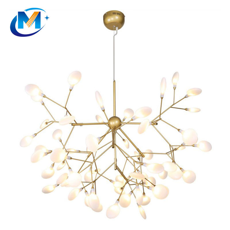 Post Modern simple Nordic art personality firefly branch hanging led lighting modern chandelier for bedroom or living room