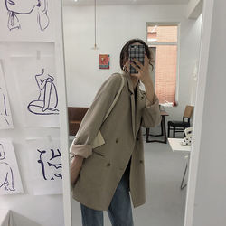 2020 Spring and autumn new style Hong Kong Flavor Retro Loose Leisure Chic Style Suit medium-length herringbone pattern suit jac