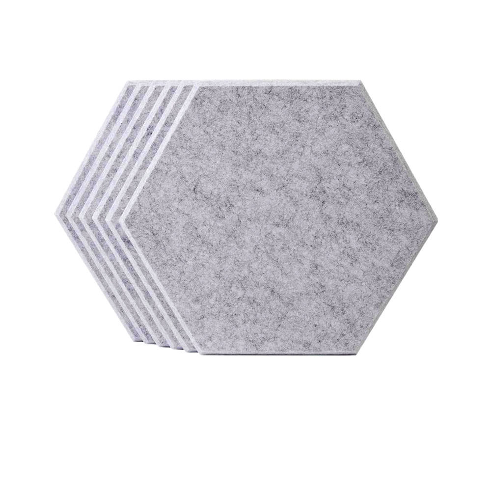 Beveled Edge Decor Sound Proof Padding Wall Tiles Polyester Fiber Hexagon Acoustic Panels